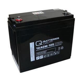 Q-Batteries 12AGM-105 Traktionsbatterie 12V 122Ah (5h) 145Ah (20h), wartungsfreier AGM-Akku VRLA