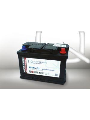 Q-Batteries 12GEL-51 Antriebsbatterie 12V 52Ah (5h), 60Ah (20h) wartungsfreier Gel-Akku VRLA