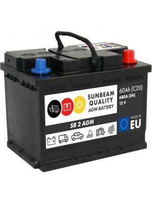 Sunbeam SB2 AGM Batterie 12Volt 60Ah 680A (Start-Stopp, Versorgerbatterie, Starterbatterie)