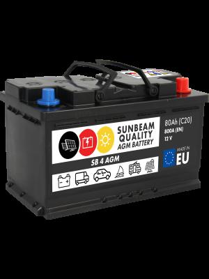 Sunbeam SB4 AGM Batterie 12Volt 80Ah (Start-Stopp, Versorgerbatterie, Starterbatterie)