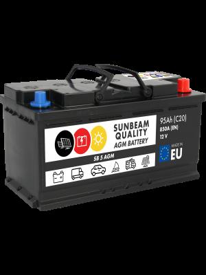 Sunbeam SB5 AGM Batterie 12Volt 95Ah 850A (Start-Stopp, Versorgerbatterie, Starterbatterie)