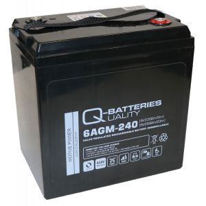 Q-Batteries 6AGM-240 Traktionsbatterie 6V 230Ah (5h) 268Ah (20h), wartungsfreier AGM-Akku VRLA